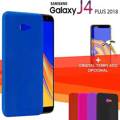 Cover gel silicone colours + Protector glass tempered Samsung Galaxy J4 Plus