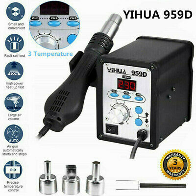 YIHUA 959D Digital Display Hot Air Gun Soldering Iron Station Repair Desoldering