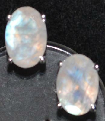Sterling Silver Natural Mystic Moonstone stud Earrings 925, Cut Solitaire Stones