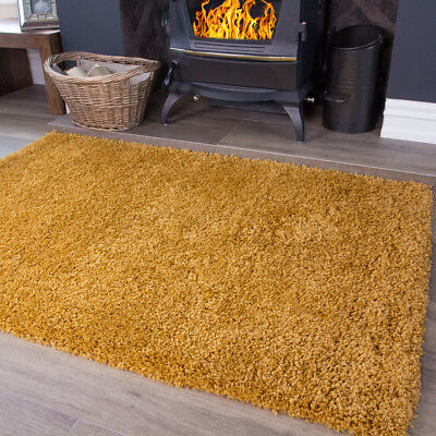 Mustard Ochre Yellow Shaggy Rug Warm Non Shed Soft Thick Cosy Living Room Rugs
