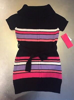 3968a20aadc Star Ride Girls Black Pink Striped Knit Short Sleeve Sweater Dress Size 5 6  New