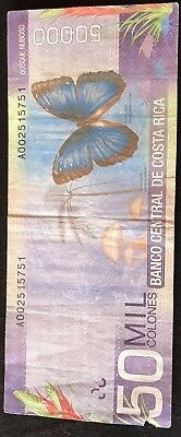Costa Rica 50,000 Colones Banknote, 2009, Butterfly, Tree