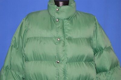 vintage 70s NORTH FACE GREEN DOWN FILL NYLON BROWN LABEL WINTER COAT JACKET L