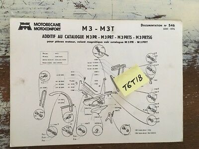 Motobécane Motoconfort Cady M3 M3T additif parts list catalogue pièce 1976