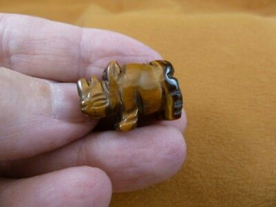 (Y-RHI-515) Tigereye RHINOCEROS I love little Rhino RHINOS gemstone FIGURINE