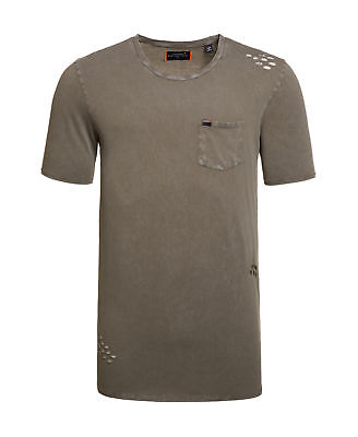 New Mens Superdry Factory Second Destroy Longline T-Shirt Washed Mottled Green