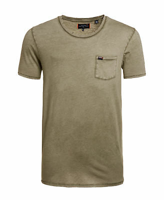 New Mens Superdry Factory Second Destroy Longline T-shirt Washed Green