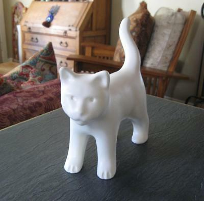 VENICE CLAY LARGE WHITE CAT Sculpture Long Tail Kitty Gary Steinborn Art Pottery