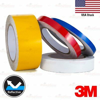 """3M REFLECTIVE Self-Adhesive Conspicuity Tape Vinyl Decal Stickers 3/8 9/16 1"""" 2"""""""