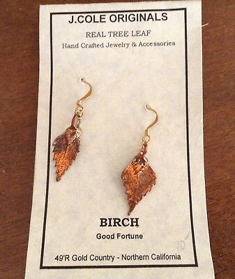 Real BIRCH TREE LEAF earrings J. Cole Originals ART electroplated COPPER dipped