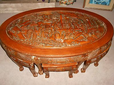 Antique Carved Wooden Oriental Table With  6 Matching Stools And Original Glass