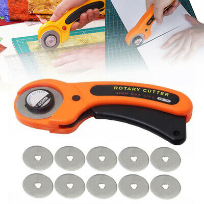 45mm Rotary Cutter + 10 x Blades Quilters Quilting Sewing Fabric Cut paper Cloth
