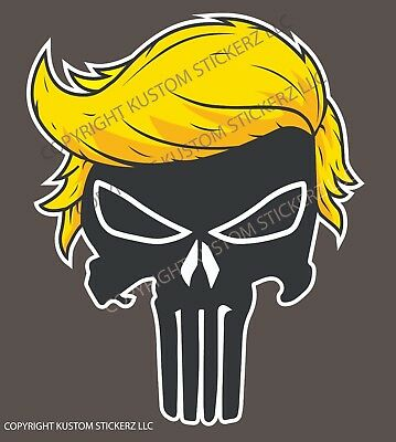 2020 DONALD TRUMP HAIR PUNISHER SKULL DECAL BUMPER STICKER - 6in UV RESIST