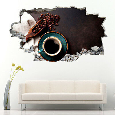 Wall Stickers Coffee Beans Saucer Cup Café  Vinyl Bedroom Girls Boys Kids C616