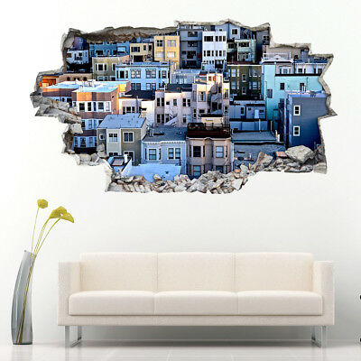 Wall Stickers Houses Buildings Shandy Town  Bedroom Girls Boys Room Kids G429