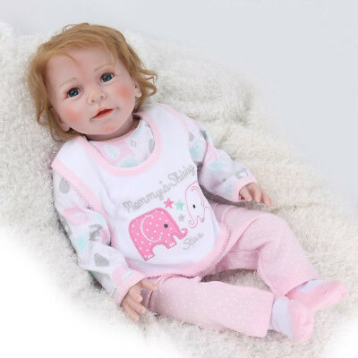 """22"""" Baby Reborn Doll Silicone Vinyl Dolls Realistic Toddler Girl Gifts Xmas Gfit"""