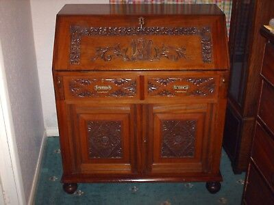 Antique Carved Victorian Mahogany Bureau