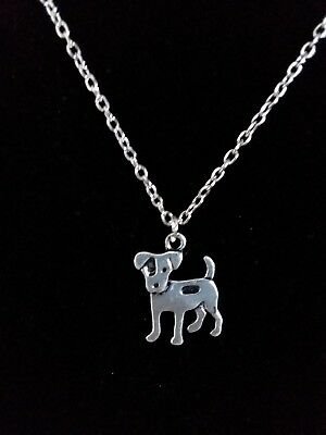 """Vintage Dog Pendant Necklace Jack Russell 18"""" /W 2"""" Ext. I Can Shorten At NC"""
