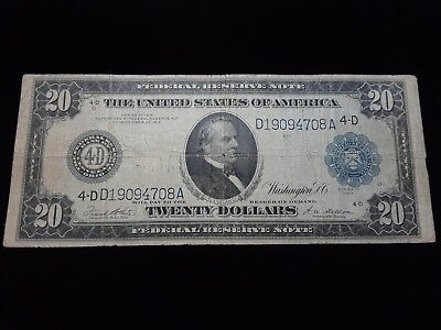 Large 1914 $20 Dollar Bill Federal Reserve Note Big Currency Paper Money