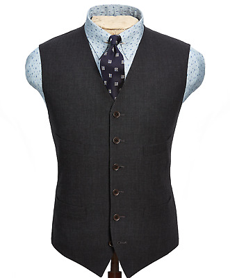 Double Ralph Lauren RRL Mens Italy Charcoal Merino English Wool Button Vest NWT