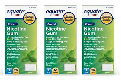 Equate Nicotine Gum Stop Smoking Aid Cool Mint Flavor 2 mg, 60 Ct -  Exp:12/2019