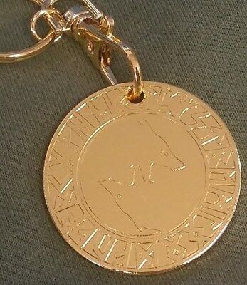 Viking Wolf and tree of life Talisman Keychain Key Chain Coin Token Gold Plated