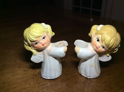 Pair Of Vintage 1960s Brinn's Ceramic Angel Christmas Candle Huggers Japan