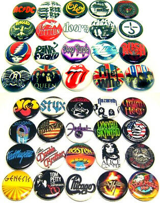 """40 1970s HARD ROCK Bands ONE Inch Buttons 1"""" Pins Pinback Music Badges CLASSIC"""