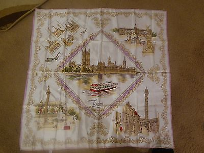 Vintage scarf with hand painted London scenes, made in Japan
