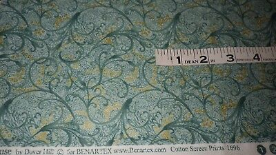 "Green and Gold Tea House by Dover Hill  Benartex measuring 34"" x 44"" cotton"