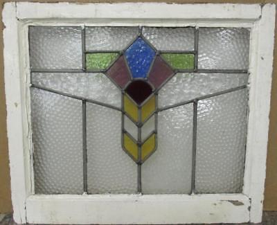 """MID SIZE OLD ENGLISH LEADED STAINED GLASS WINDOW Colorful Geometric 24"""" x 20.25"""""""
