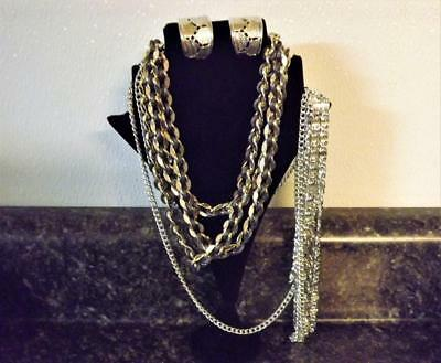 Vintage Sarah Coventry Lot: Two Necklaces & Pair of Cigar Earrings SCII
