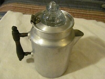 """Great Northern Pure Aluminum Coffee Pot With Lite Blue Fire King 2""""  Glass Top"""