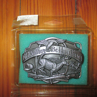 """""""I'd Rather be Hunting"""" Pewter Belt Buckle, New in Box and Made in U.S.A!"""