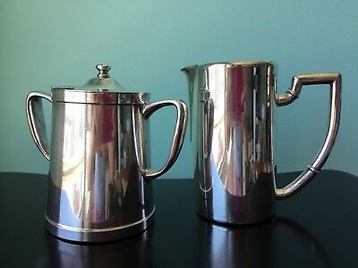 vintage hotel rail silver plate creamer pitcher hinged sugar pot containers