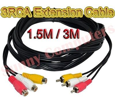 3RCA 3 RCA M/F Audio Video AV Composite Extension Cable Cord DVD TV Adapter AU