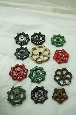 VINTAGE WATER KNOB LOT 12 CAST IRON VALVE FAUCET HANDLE STEAMPUNK INDUSTRIAL ad