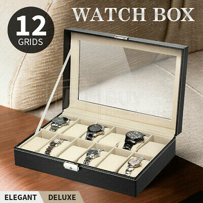12 Grids Leather Watch Display Case Jewelry Collection Storage Holder Box Gift