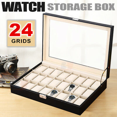 24 Grids Leather Watch Display Case Jewelry Collection Storage Holder Box Gift