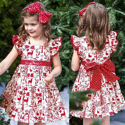 AU Christmas Toddler Kids Baby Girls Deer Bowknot Pageant Party Dress Sundress