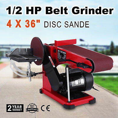 "Belt Sander Disc Bench Sander 4"" Belts and 6"" Disc Sanding Linisher Machine 375W"