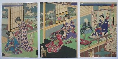 19c Japanese Original Antique Old Woodblock Print Triptych By Toyokuni
