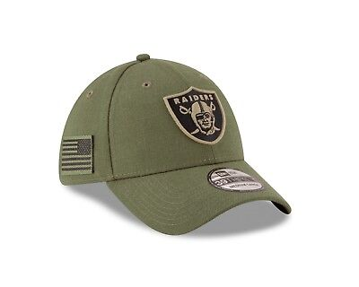 b0ec20b350d Oakland Raiders Olive New Era 2018 Salute To Service Sideline 39THIRTY Flex  Hat