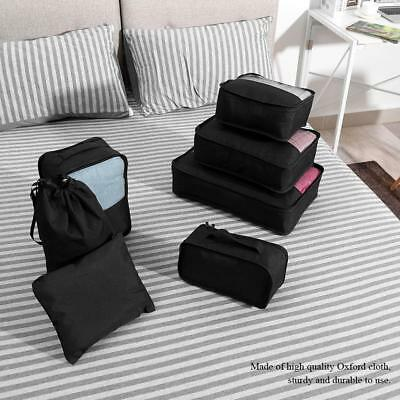 7Pcs Packing Cubes Travel Pouches Luggage Organizer Clothes Suitcase Storage Bag