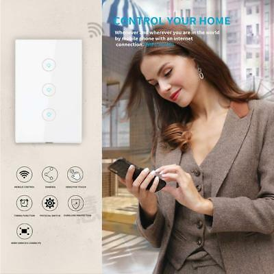 3 Gang Smart Touch Light Switch WiFi RF APP Remote Control For Google Home Alexa