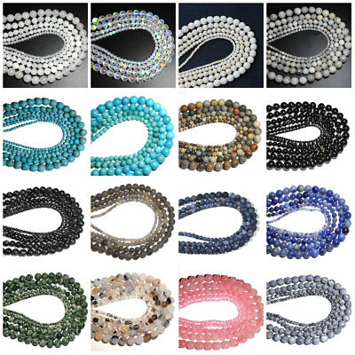 Natural Stone Round Loose Spacer Beads Jewelry DIY Bracelet Crafts 4/6/8/10mm