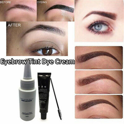 Eyelash & Eyebrow Dye Tint Gel Eye Brow Mascara Cream Brush Kit Longlasting