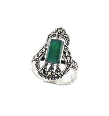 Green Agate Art Deco Style Marcasite Ring Sterling Silver 925 RRP €78.00