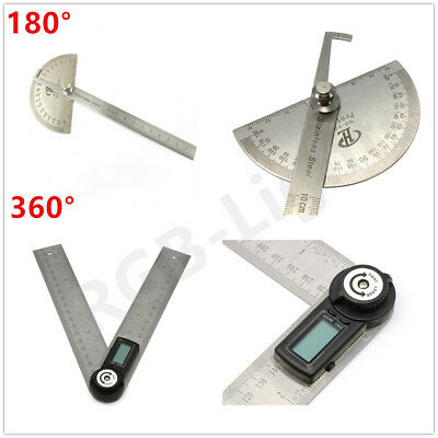 180° Angle Finder Ruler 360° Digital LCD Protractor Craftsman Stainless Steel UK