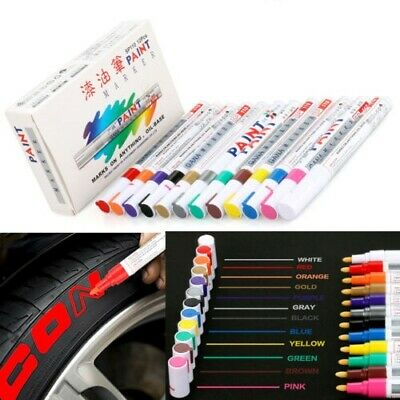 12x Colorful Tyre Paint Marker Pens Waterproof Permanent for Car Motorcycle Tire